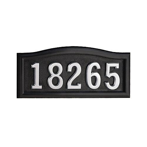 Plaque de numéro civique noire en fonte d'aluminium