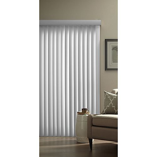 Store vertical en PVC blanc de 3,5 pouces - 78 pouces de large x 84 pouces de long