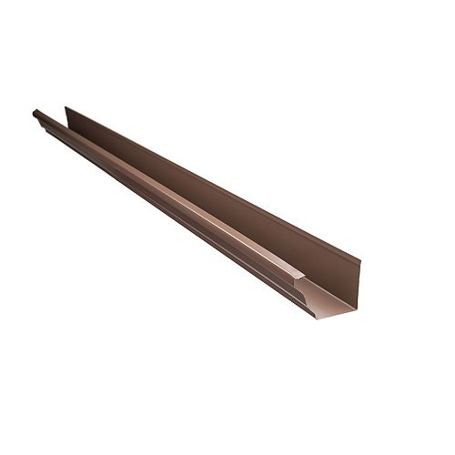 Peak Products 10 ft. x 4-inch Aluminum Gutter in Brown
