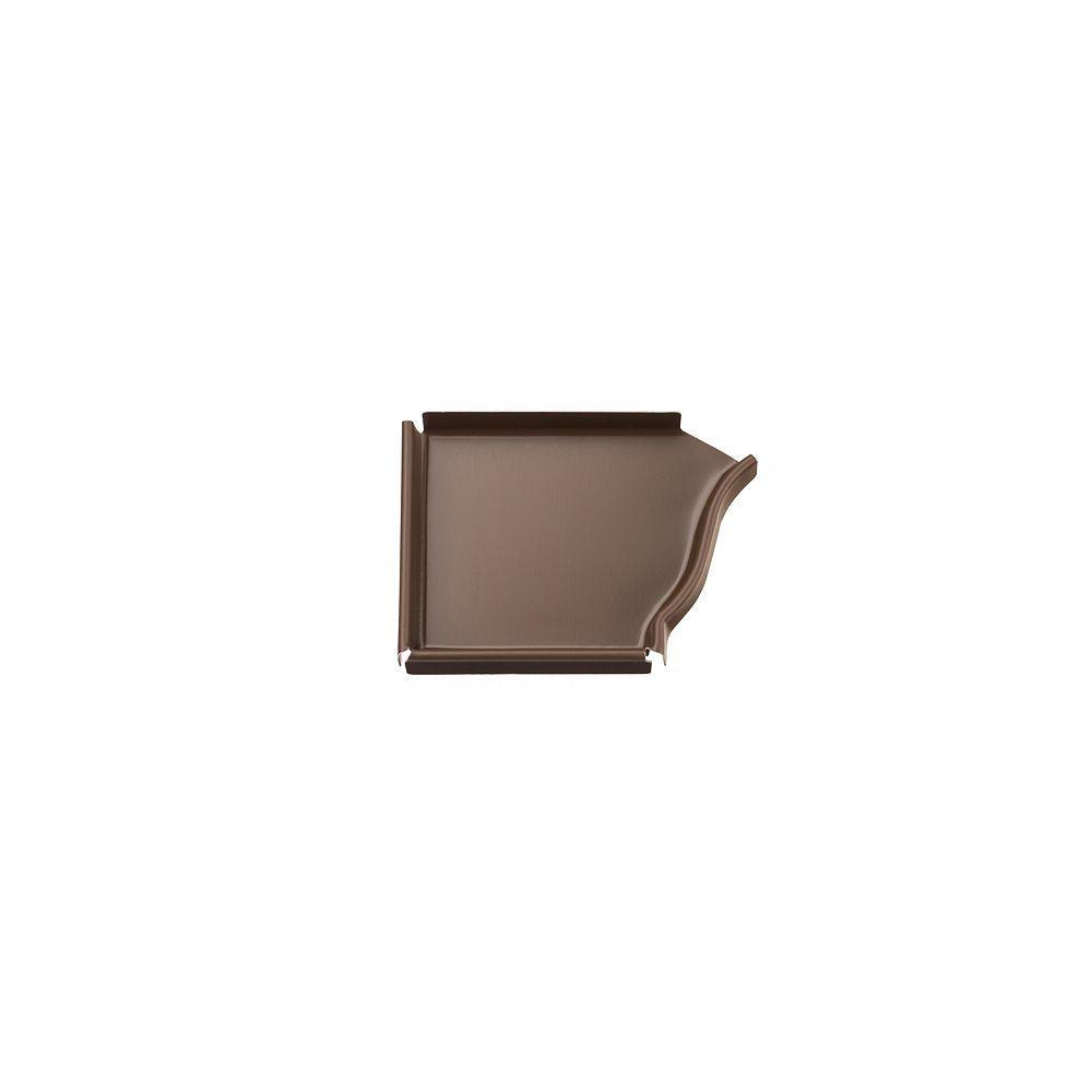 Peak Products 4-inch Aluminum Gutter Left End Cap in Brown