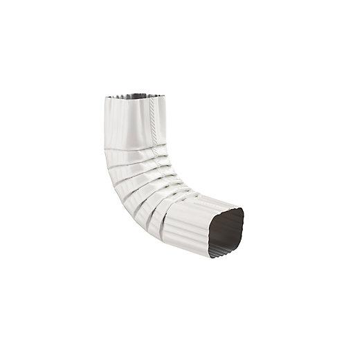 Coude A de 2 pouces x 3 pouces pour gouttière d'aluminium - Blanc