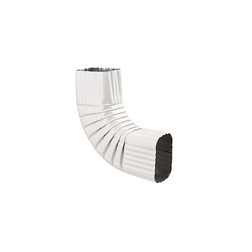 Coude B de 2 pouces x 3 pouces pour gouttière d'aluminium - Blanc