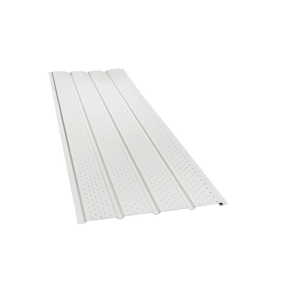 Peak Products 10 ft. L x 17 1/2-inch W x 4-inch H Aluminum 4-Panel Vented Soffit in White