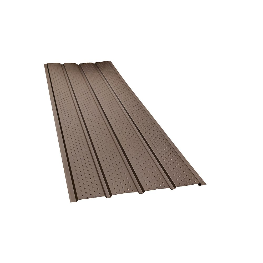 Peak Products 10 ft. L x 17 1/2-inch W x 4-inch H Aluminum 4-Panel Vented Soffit in Brown
