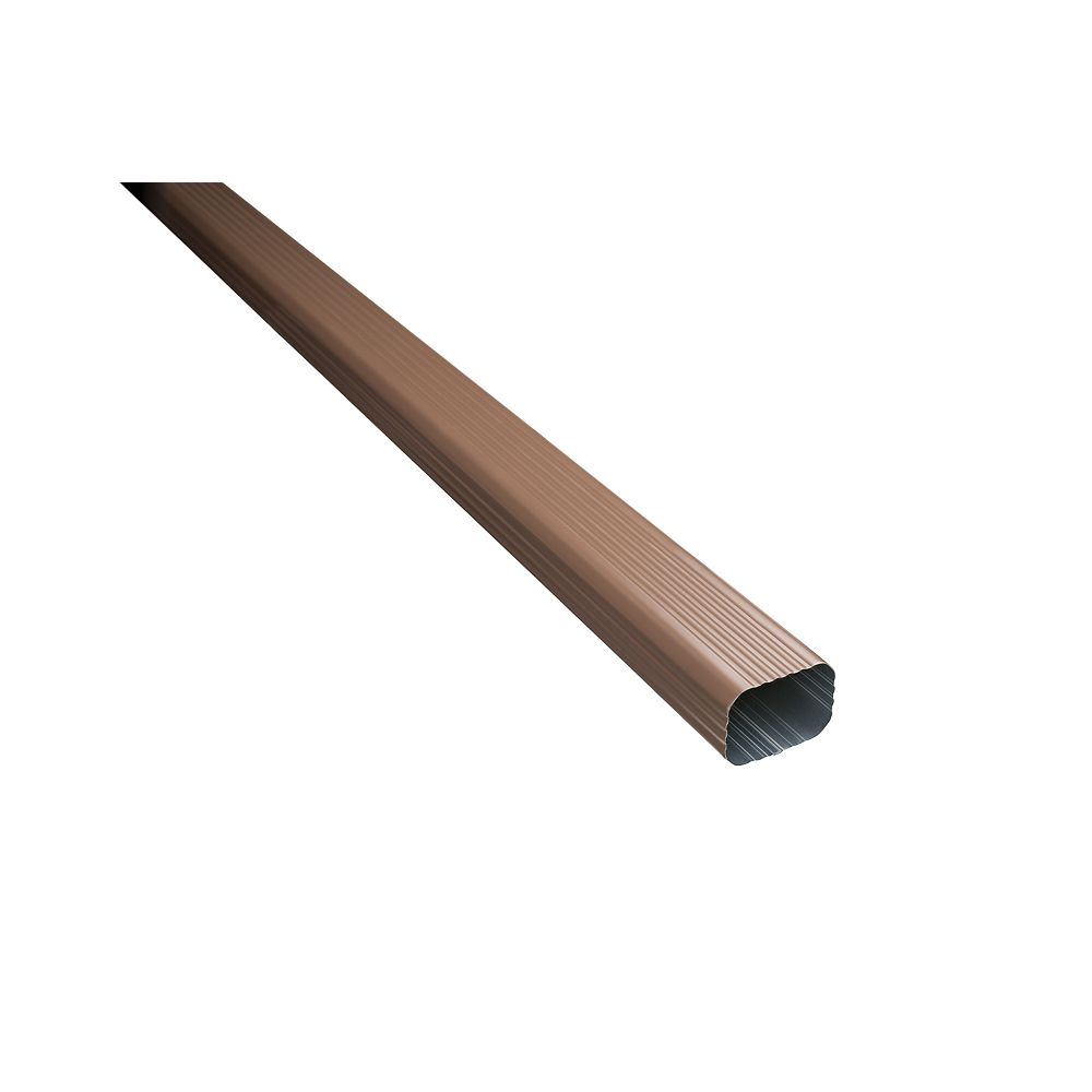 Peak Products 10 ft. L x 2-inch W x 3-inch H Aluminum Downpipe in Brown