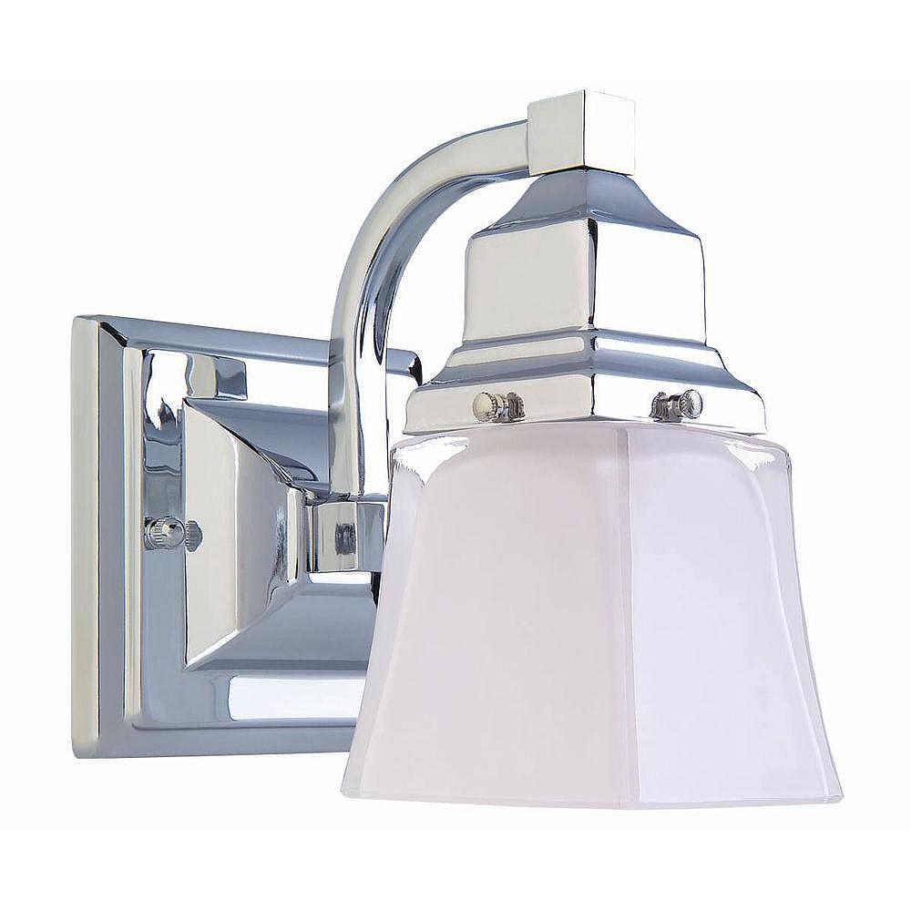Hampton Bay Applique de salle de bains, chromée, une ampoule, diffuseur en verre