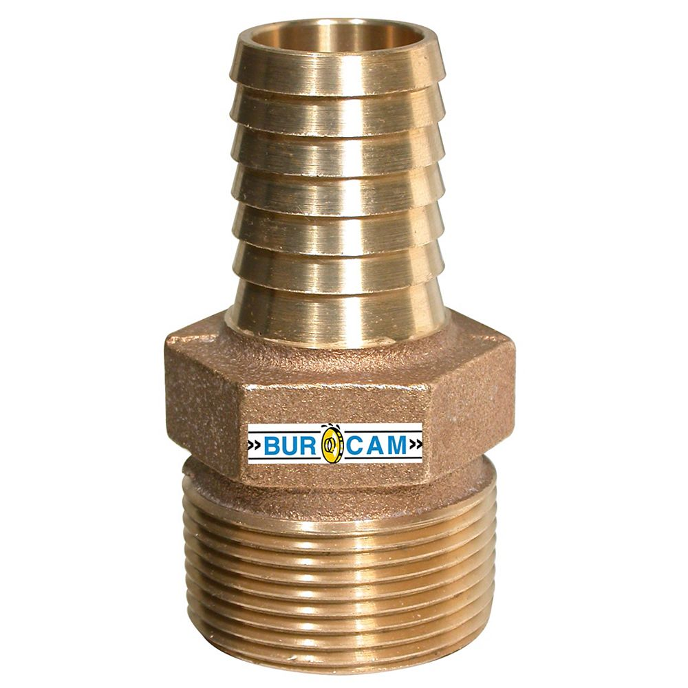 Bur-Cam Adaptateur De Reduction Bronze 1 1/4  po Mnpt X 1  po Barb