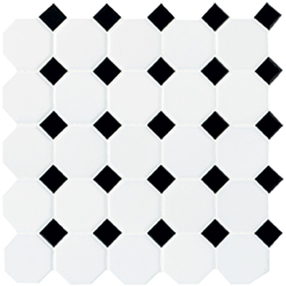 12 inch x 12 inch x 13 mm ceramic octagon dot mosaic tile in matte white with black dot