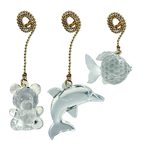 Acrylic Pull Chain Teddy/Fish/Dolphin with 12 Inch (30.5 cm) Brass beaded Chain (3-Pack)