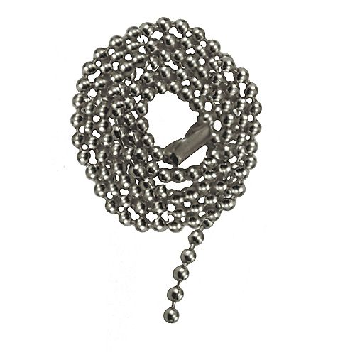 Chrome Beaded Chain with Connector - 36 Inch (91.4 cm)