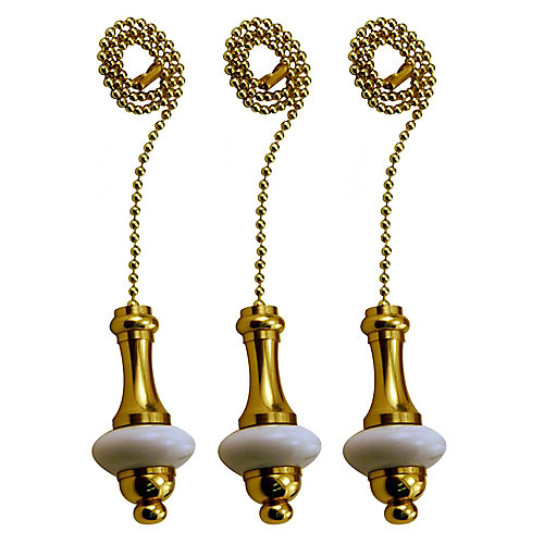 White Ceramic Pull Chain with 12 Inch (30.5 cm) Brass beaded Chain (3-Pack)