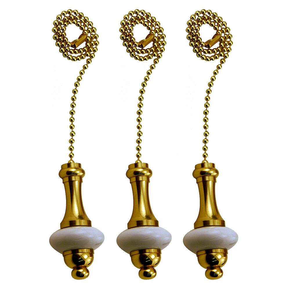 Atron White Ceramic Pull Chain with 12 Inch (30.5 cm) Brass beaded Chain (3-Pack)