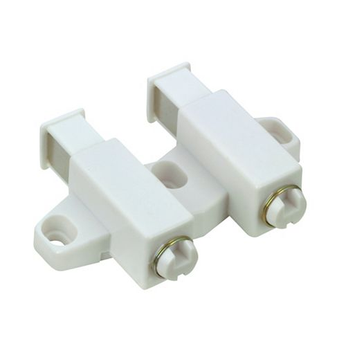 White Double Automatic Magnetic Latch with Plate