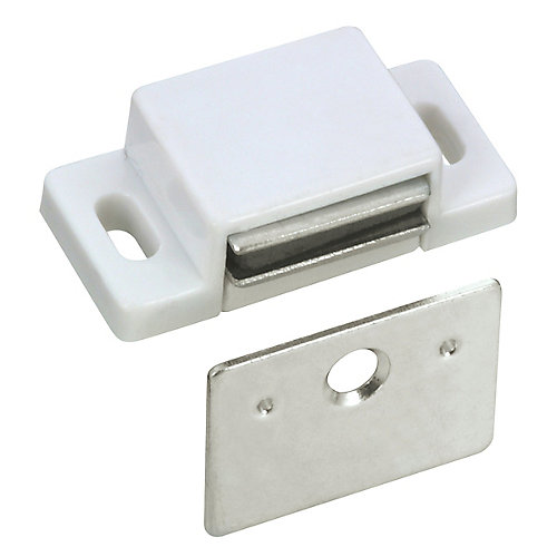 White Single Magnetic Catch with Plate