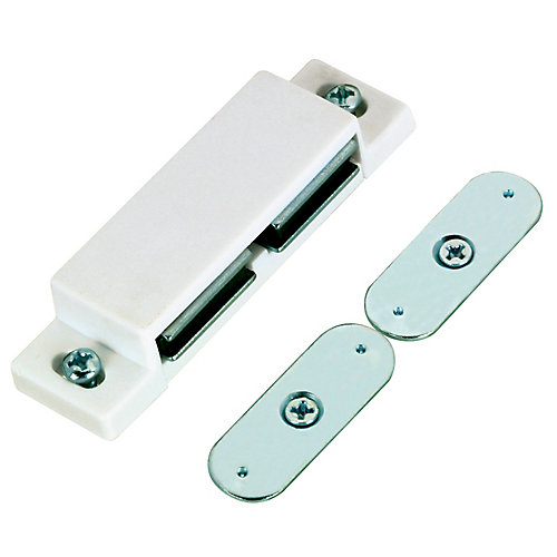 White Double Magnetic Latch with Plate and Screws