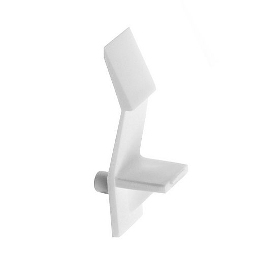 (Paquet de 8) Support à tablette avec retenue en Polypropylène - 3/16 po (5 mm) - Blanc
