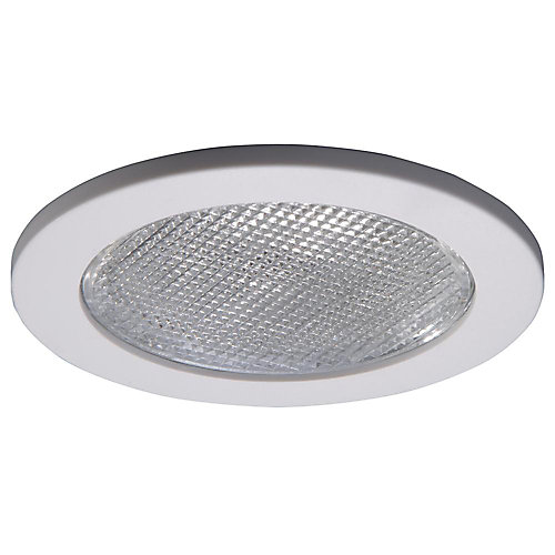 Shower Light with Satin White Trim Ring-4 Inch Aperture