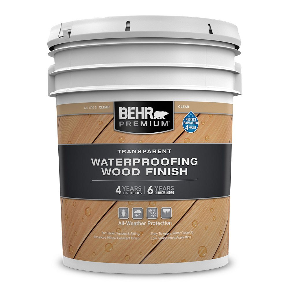 Behr Premium Transparent Waterproofing Wood Finish - Clear No. 500-N, 18.9L