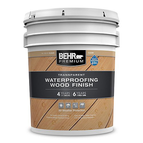 Behr Premium PREMIUM Fini transparent et imperméabilisant pour bois - Incolore no 500-N, 18,9 L