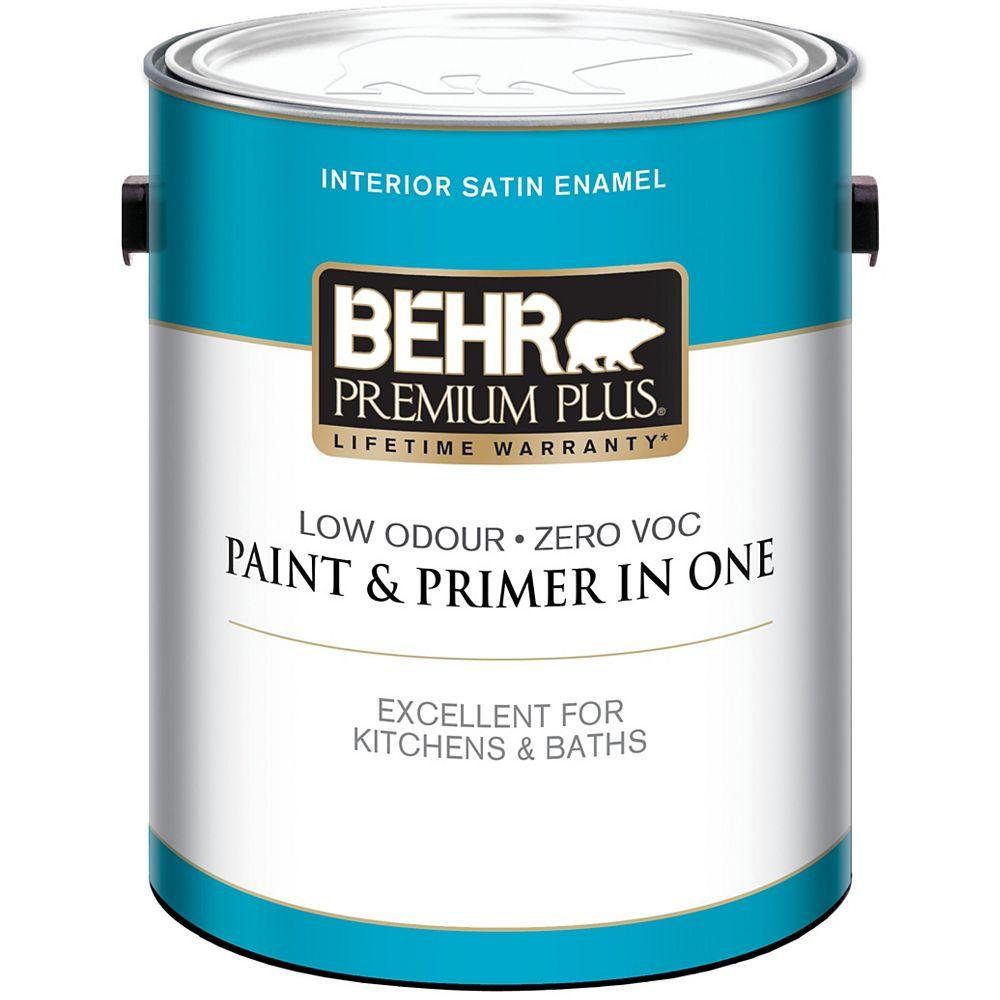 Behr Premium Plus BEHR PREMIUM PLUSMD  Peinture intérieure émail satiné - Blanc Ultra Pur, 3,79 L