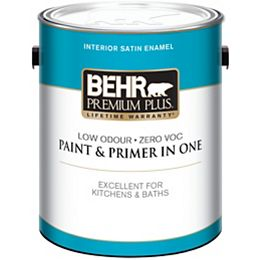 3.79L Ultra Pure White Interior Satin Enamel Paint and Primer