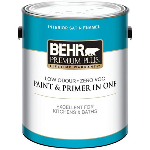 3.79L Ultra Pure White Interior Satin Enamel Paint and Primer
