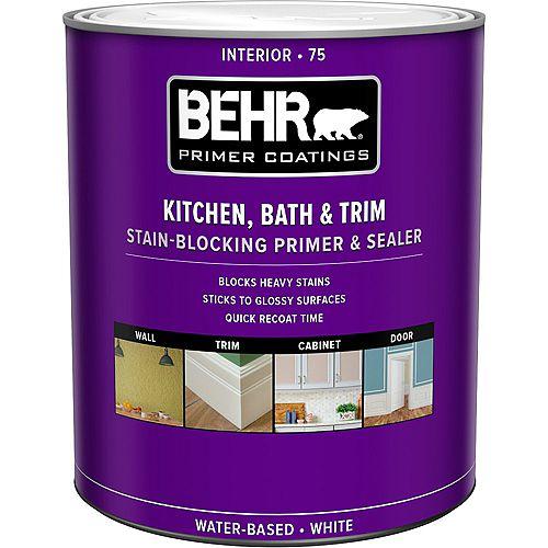 Behr Premium Plus Apprêt, bouche-pores et bloque-taches intérieur pour cuisines, salles de bain et garnitures 75, 946 ml