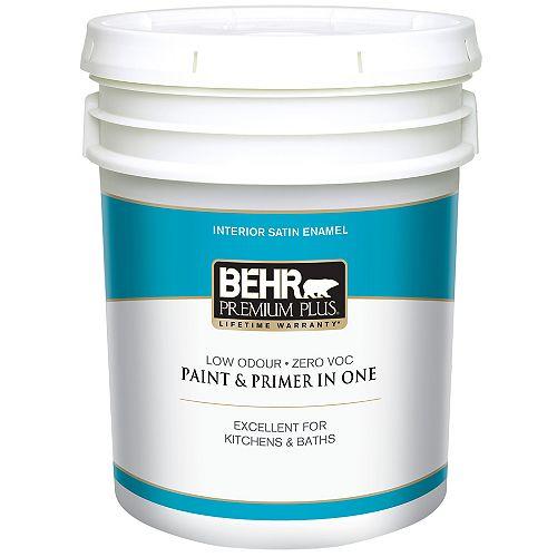 Interior Satin Enamel Paint - Ultra Pure White, 18.9 L