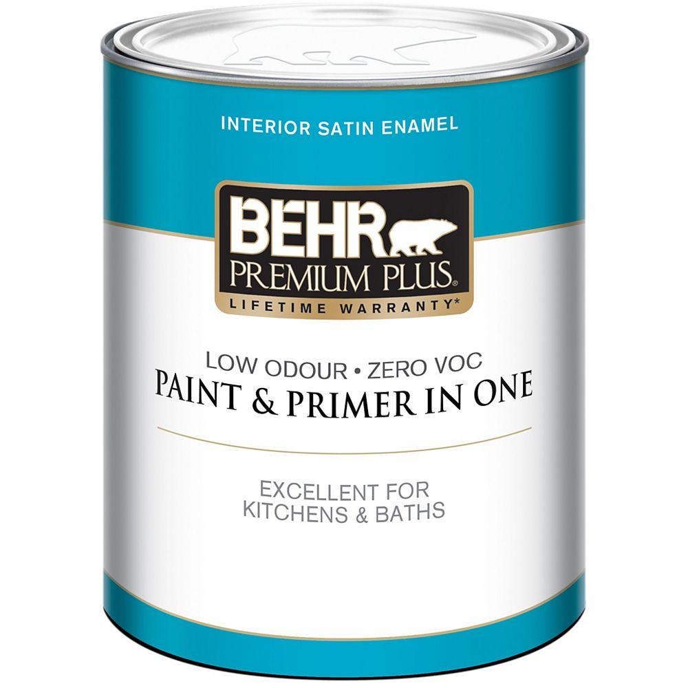 Behr Premium Plus BEHR PREMIUM PLUSMD  Peinture intérieure émail satiné - Base foncée, 858 mL