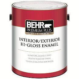Interior/Exterior Hi-Gloss Enamel Paint - Deep Base, 3.43 L