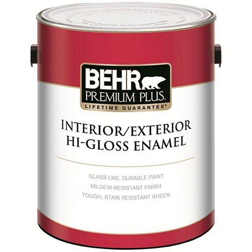 BEHR PREMIUM PLUS Peinture - Intérieur/extérieur émail très brillant - Blanc ultra pur - Base foncée, 3,43 L