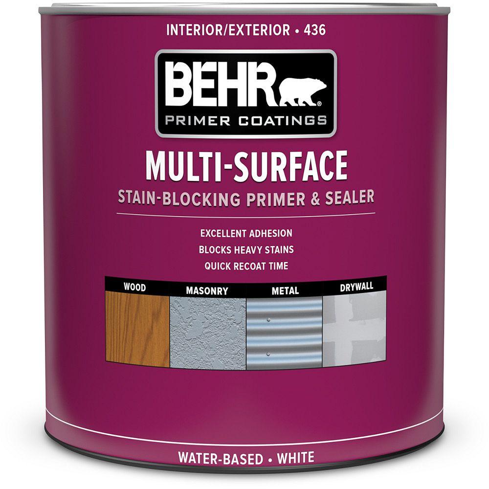 BEHR Apprêt, bouche-pores et bloque-taches multi-surfaces intérieur/extérieur 436, 946 ml