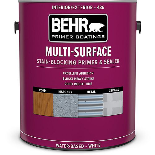 Behr Premium Plus Apprêt, bouche-pores et bloque-taches multi-surfaces intérieur/extérieur 436, 3,79 L