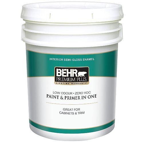 Interior Semi-Gloss Enamel Paint - Ultra Pure White, 18.9 L