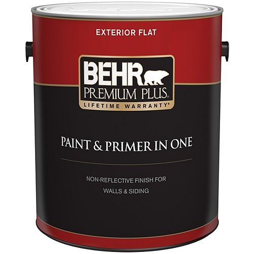 Behr Premium Plus Peinture et apprêt en un d'extérieur Ultra Pure, 3,7 L, blanc, fini anti-reflet