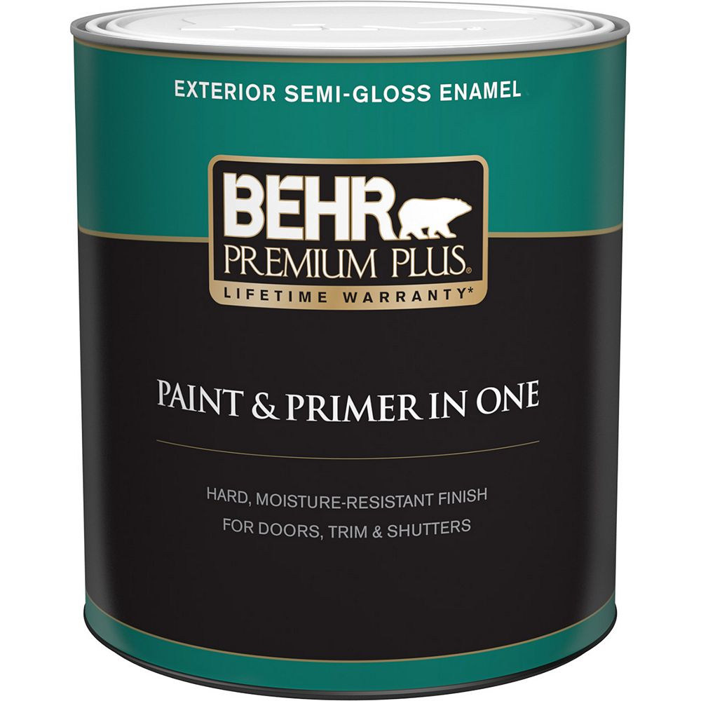 Behr Premium Plus Exterior Paint & Primer in One, Semi-Gloss Enamel - Ultra Pure White, 946 mL