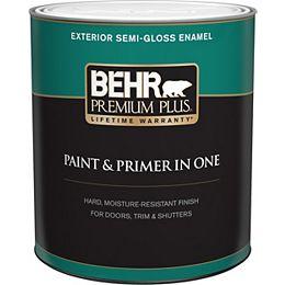 Exterior Paint & Primer in One, Semi-Gloss Enamel - Ultra Pure White, 946 mL
