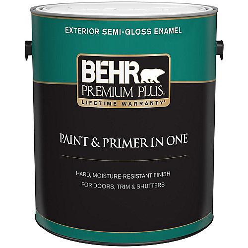 Peinture & apprêt en un - Extérieur émail semi-brillant - Blanc ultra pur, 3,7 L