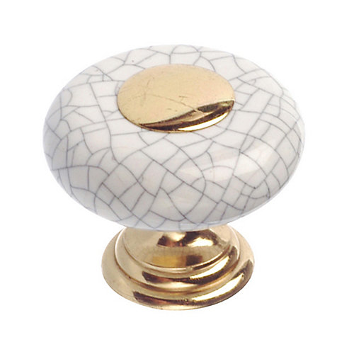 Ecletic Ceramic and Metal Knob 1 1/4 in (32 mm) Dia - Cherbourg Collection