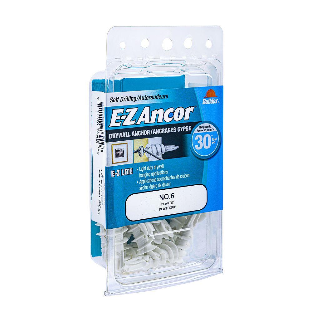 E-Z Ancor® Ancre E-Z #6 Ancre E-Z Lite pour cloisons sèches - Plastique - 20pc