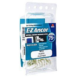 E-Z Ancor® Twist N Lock #8 Self-Drilling Nylon Drywall Anchors Screws, Heavy Duty, 20pcs