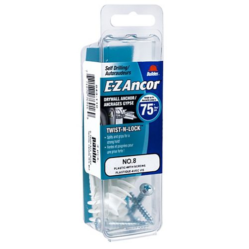 #8 E-Z Ancor(R) Drywall Anchor in Nylon with Screw - Heavy Duty - 4 pcs