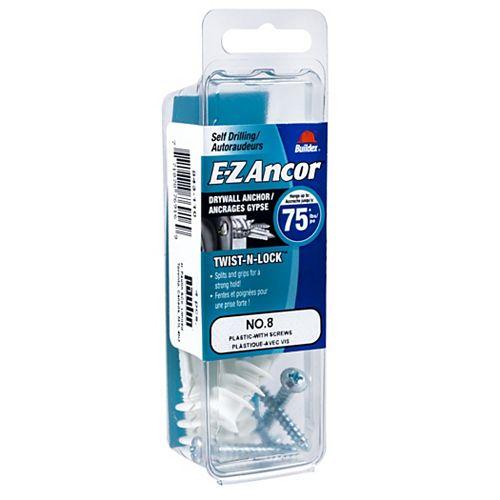 E-Z Ancor® Twist N Lock #8 Self-Drilling Nylon Drywall Anchors Screws, Heavy Duty, 4pcs