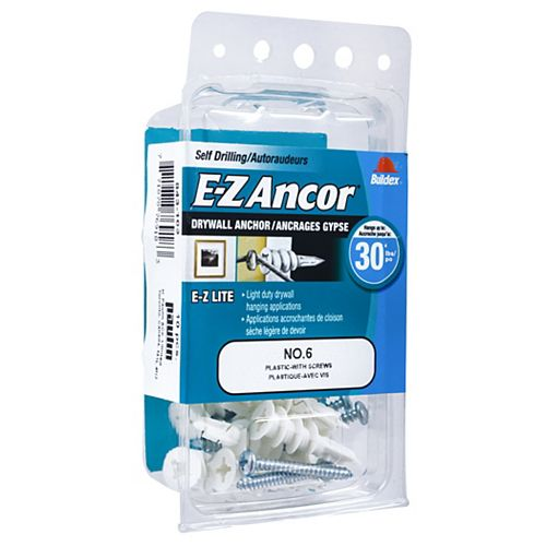 #6 E-Z Ancor(R) Drywall Anchor in Nylon with Screw - 10 pcs