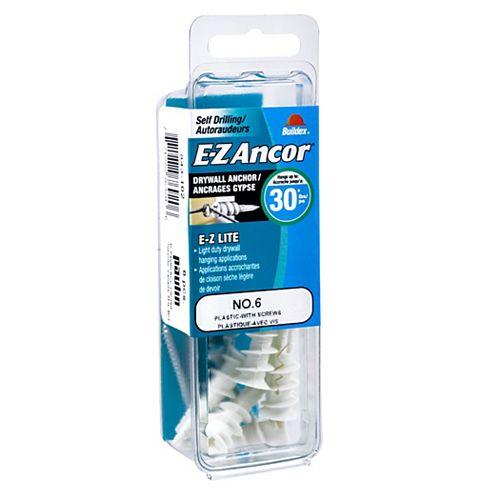 E-Z Ancor® #6 E-Z Ancor(R) Drywall Anchor in Nylon with Screw - 4 pcs
