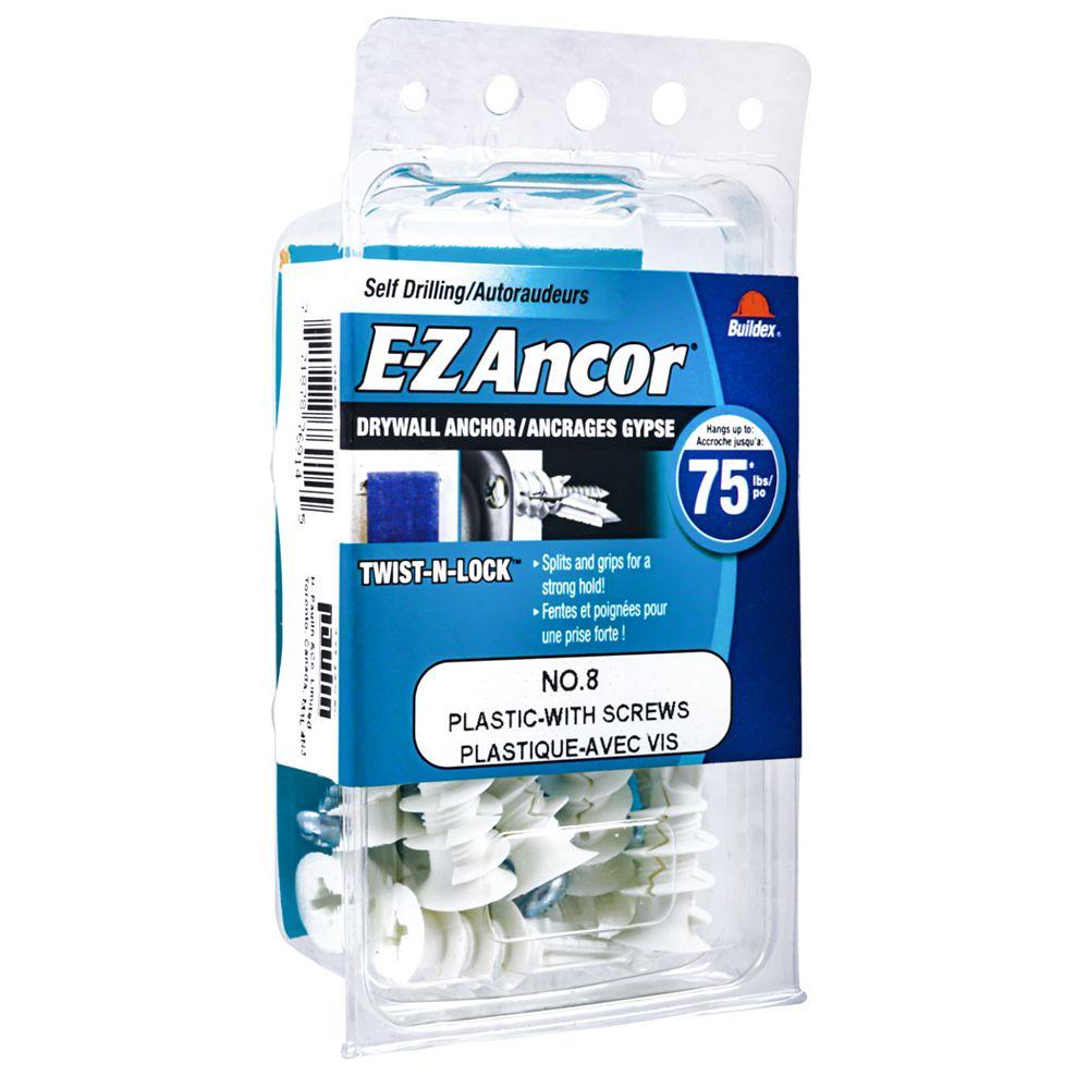 E-Z Ancor® E-Z Ancor® Twist N Lock #8 Self-Drilling Nylon Drywall Anchors Screws, Heavy Duty, 10pcs