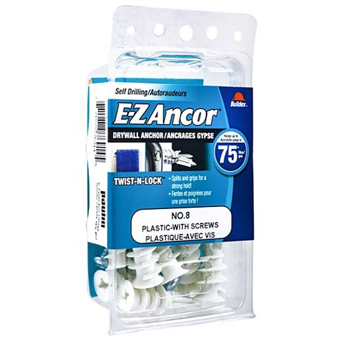 #8 E-Z Ancor(R) Drywall Anchor in Nylon with Screw - Heavy Duty - 10 pcs