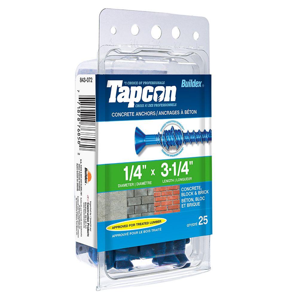 """Tapcon Vis à béton Phillips Drive à tête plate 1/4"""" x 3-1/4"""" avec embout - paquet de 10"""
