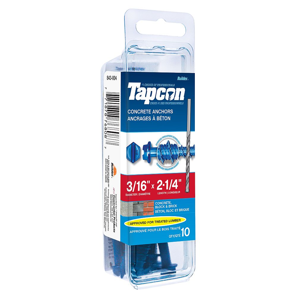 Tapcon 3/16-inch x 2-1/4-inch Slotted Hex Head Concrete Screw With Bit - 10 Pack