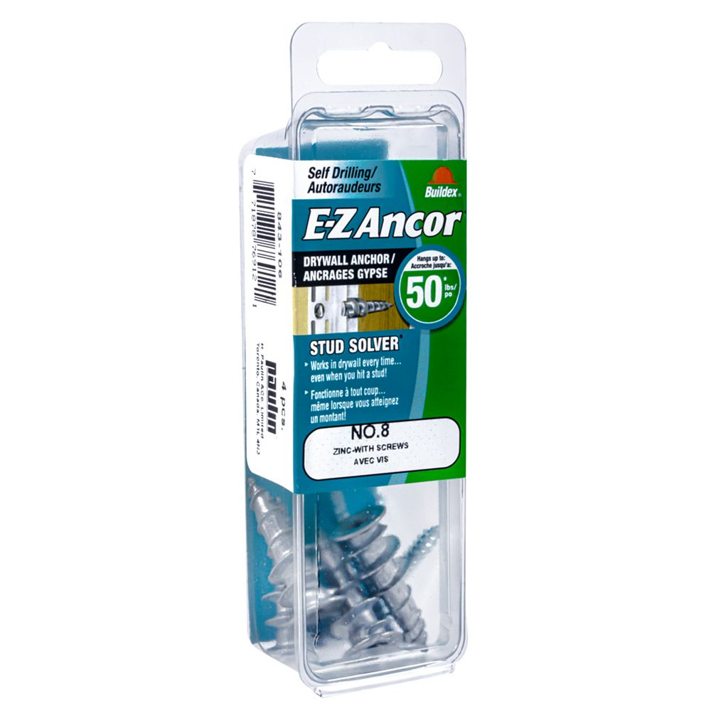 E-Z Ancor® E-Z Ancor® #8 Self-Drilling Zinc Drywall Anchors with Screws, Medium Duty, 4pcs